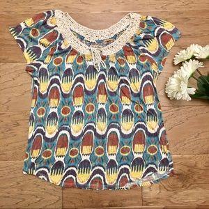 Lucky Brand Boho Short Sleeve Printed Blouse Top